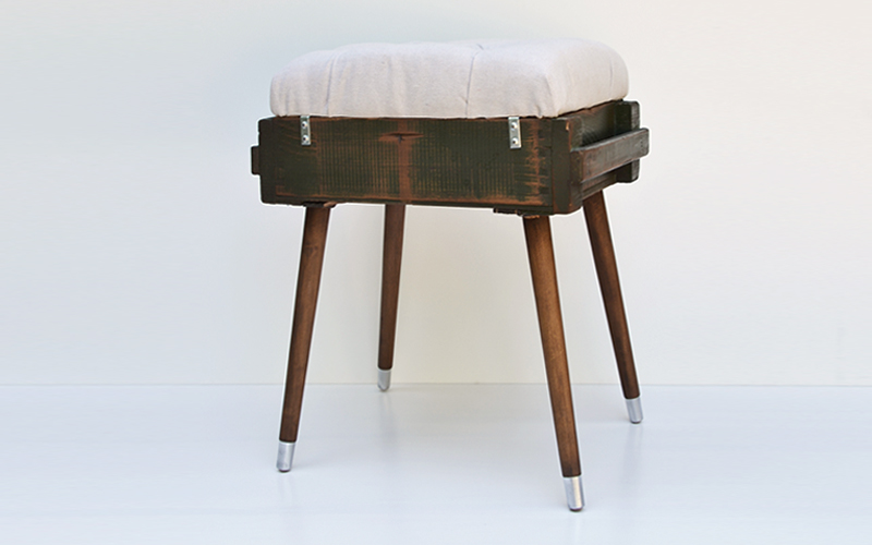 Diamond Tufted Air Force Footstool
