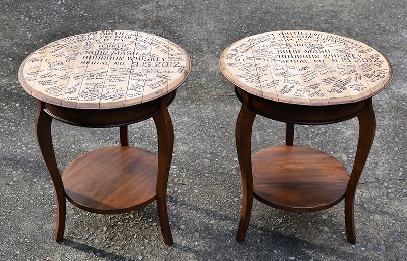 Whiskey Barrel-Top End Tables