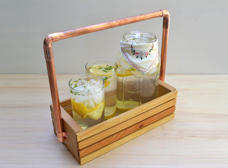 Copper + Wood Drink Caddy